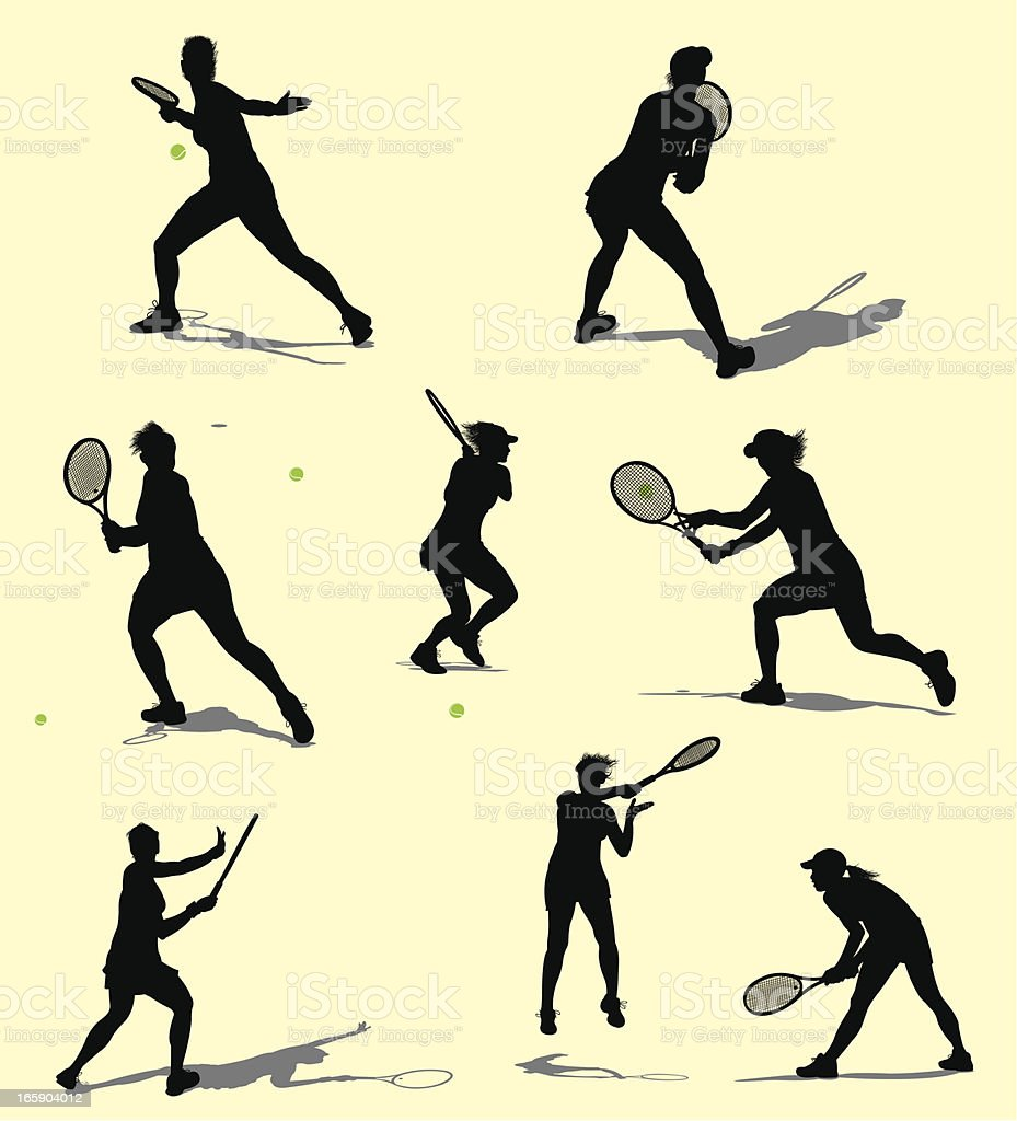 Tennis Volley - Female vector art illustration