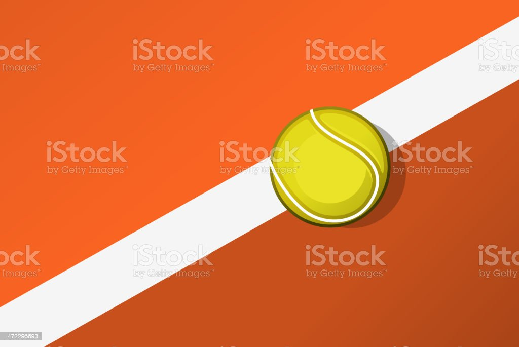 Tennisball on tennis-court line layout. vector art illustration