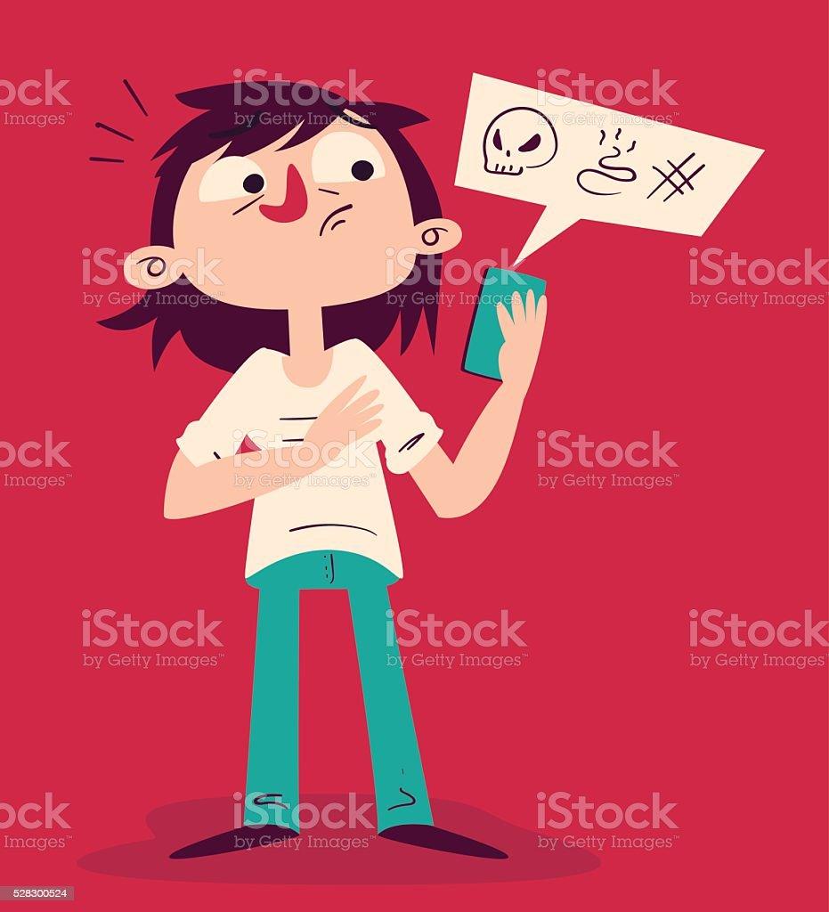 Tense Girl Arguing on the Phone vector art illustration