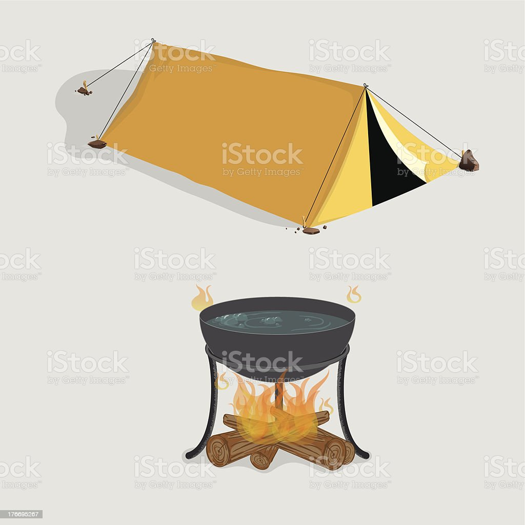 Tent And Campfire vector art illustration
