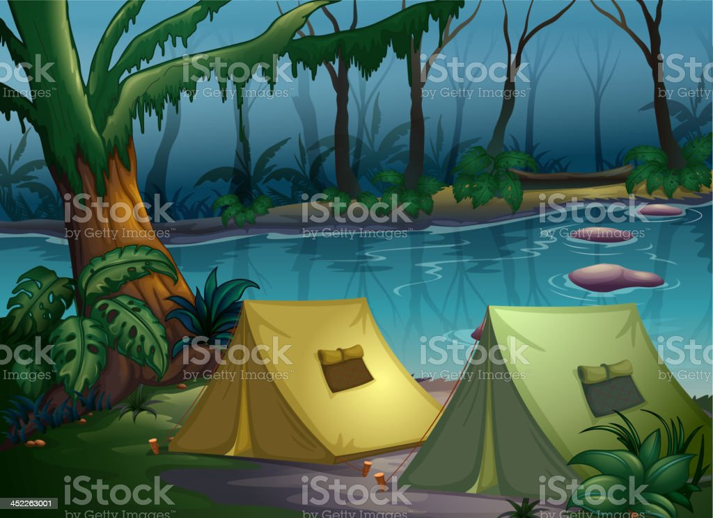 Tent camp in the woods royalty-free stock vector art