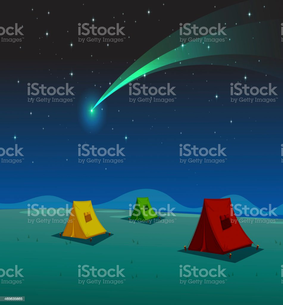 tent house and comet royalty-free stock vector art