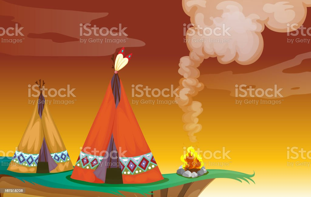Tent house and fire royalty-free stock vector art