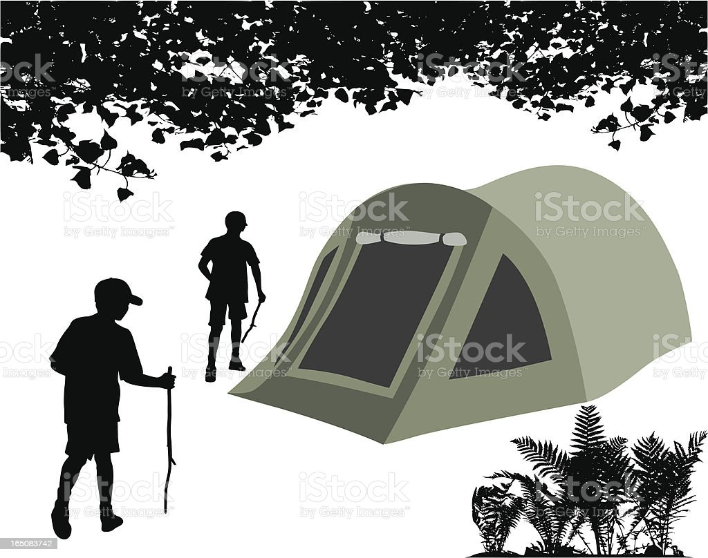 Tent Poplar Trees Vector Silhouette royalty-free stock vector art