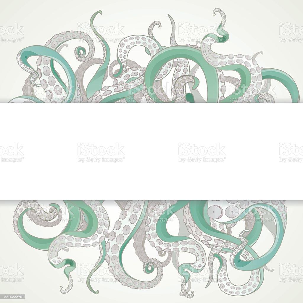Tentacles banner vector art illustration