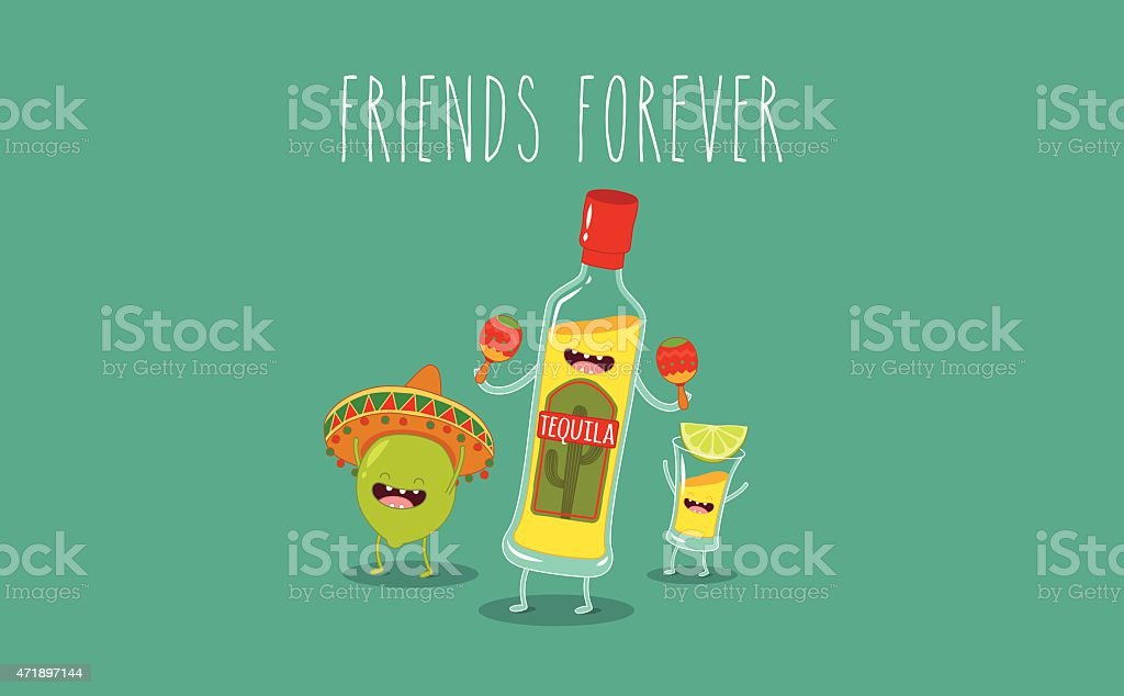 Tequila bottle vector art illustration