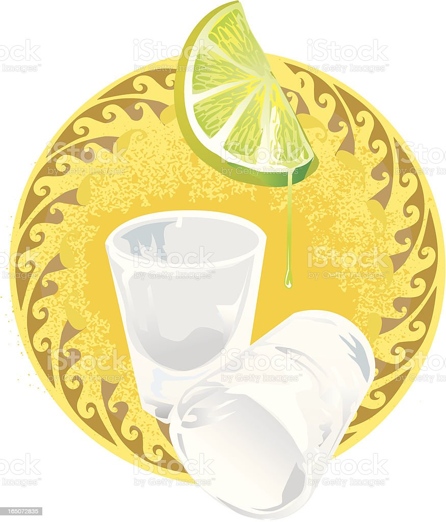 tequila shot glasses with lime vector art illustration
