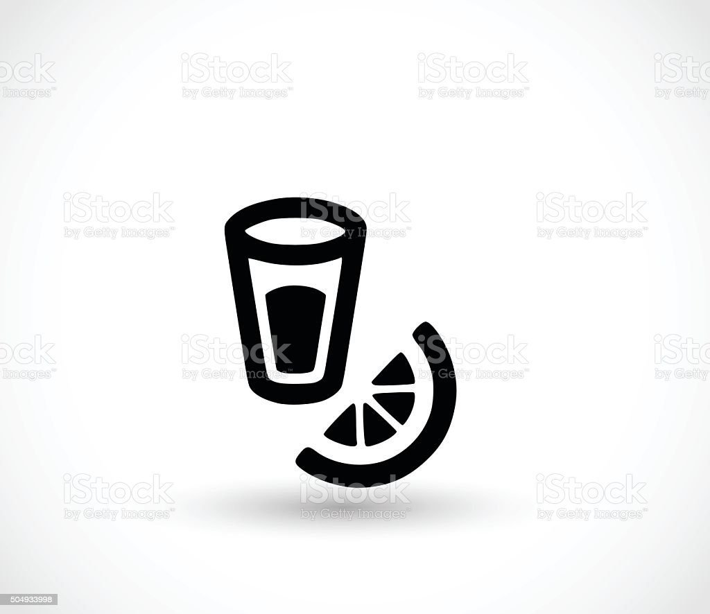 Tequila with lemon icon vector illustration vector art illustration