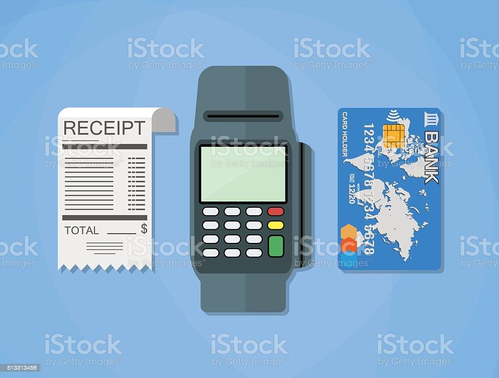terminal, receipt, card vector art illustration