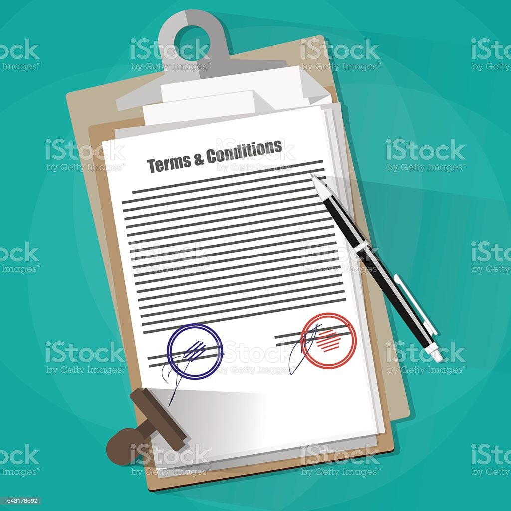 Terms and Conditions Legal Agreement. vector art illustration