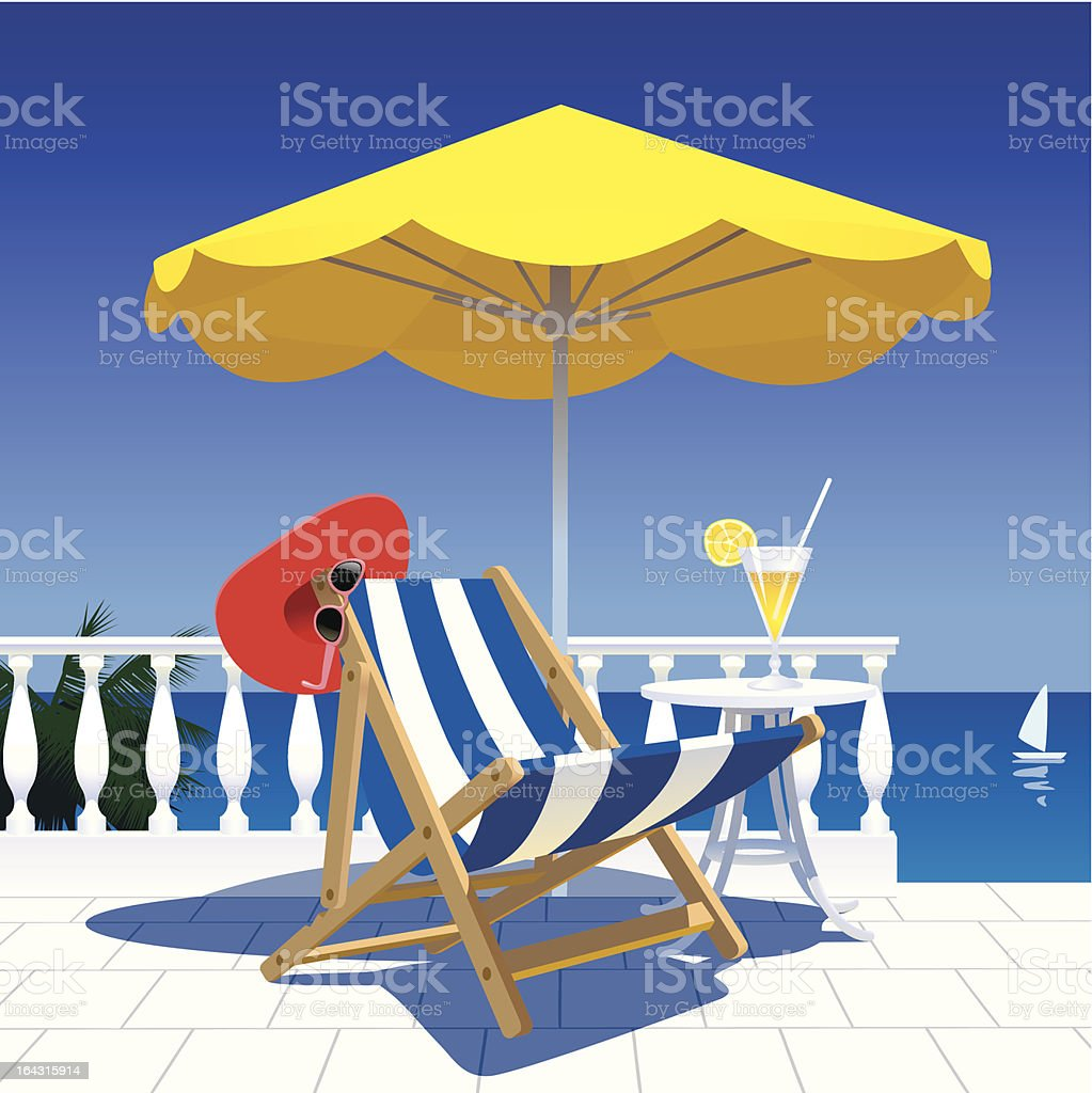 Terrace with a sea-view vector art illustration
