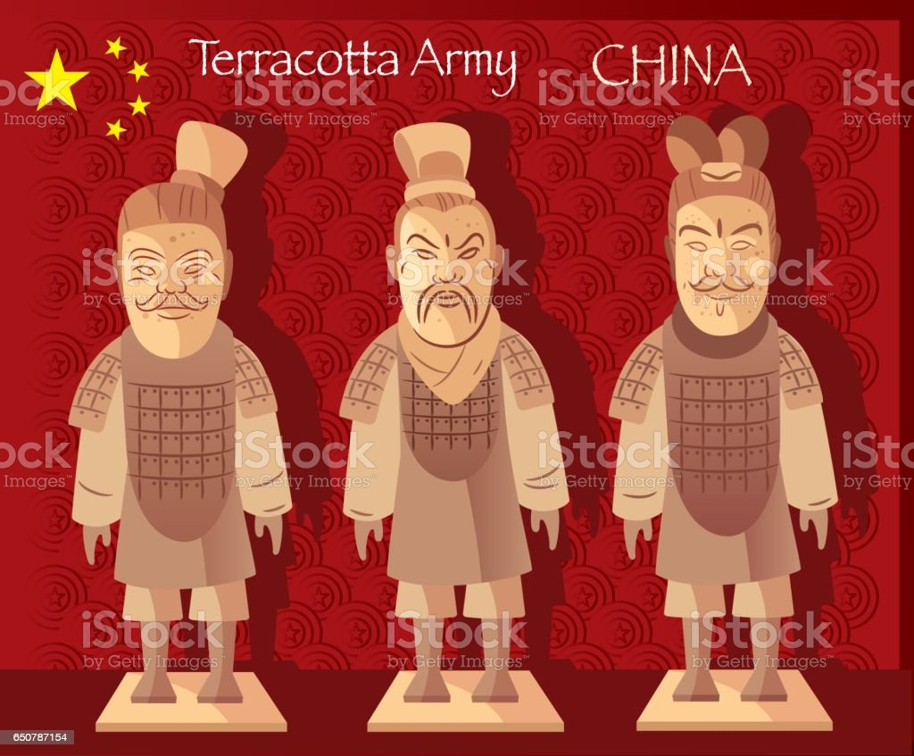 Terracotta Army vector art illustration