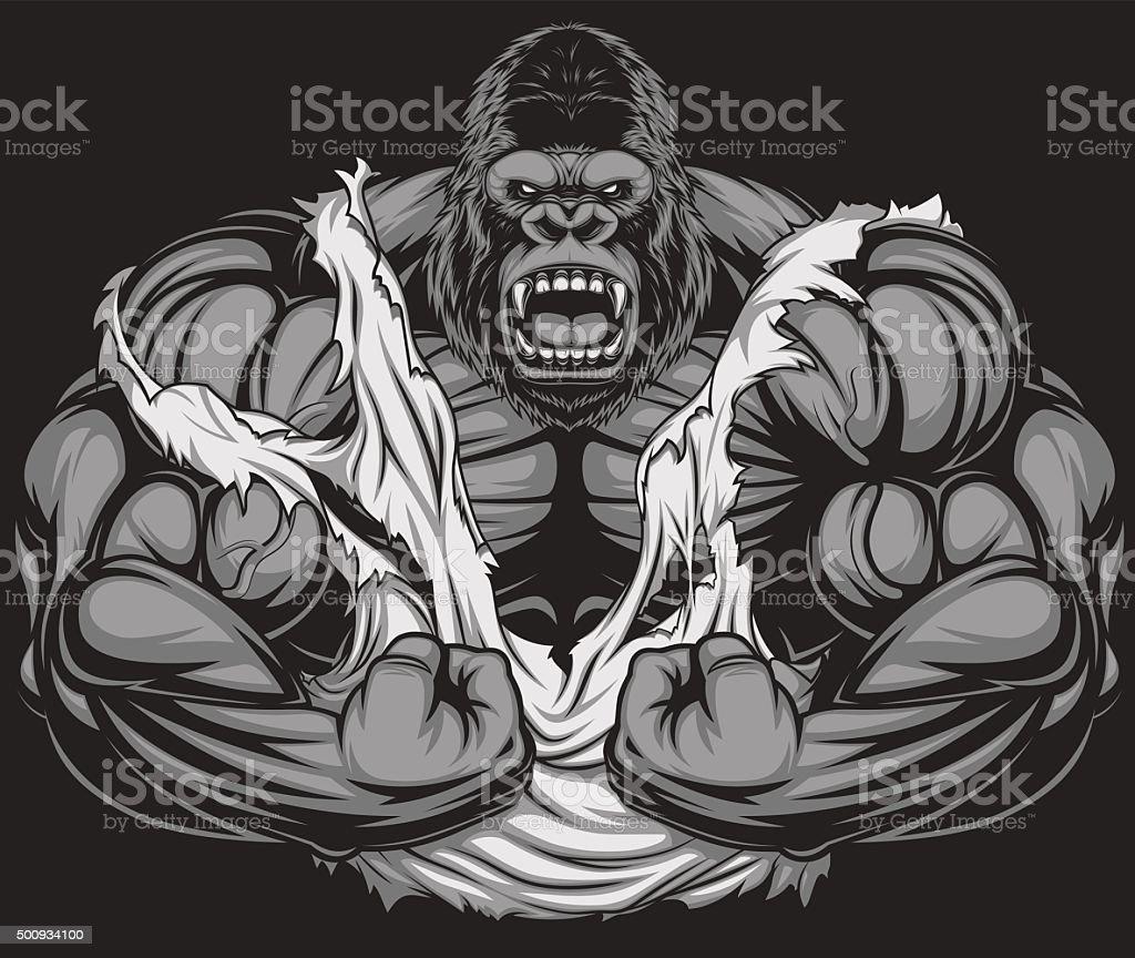 Terrible gorilla athlete vector art illustration