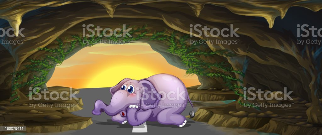 terrified elephant in middle of the road vector art illustration