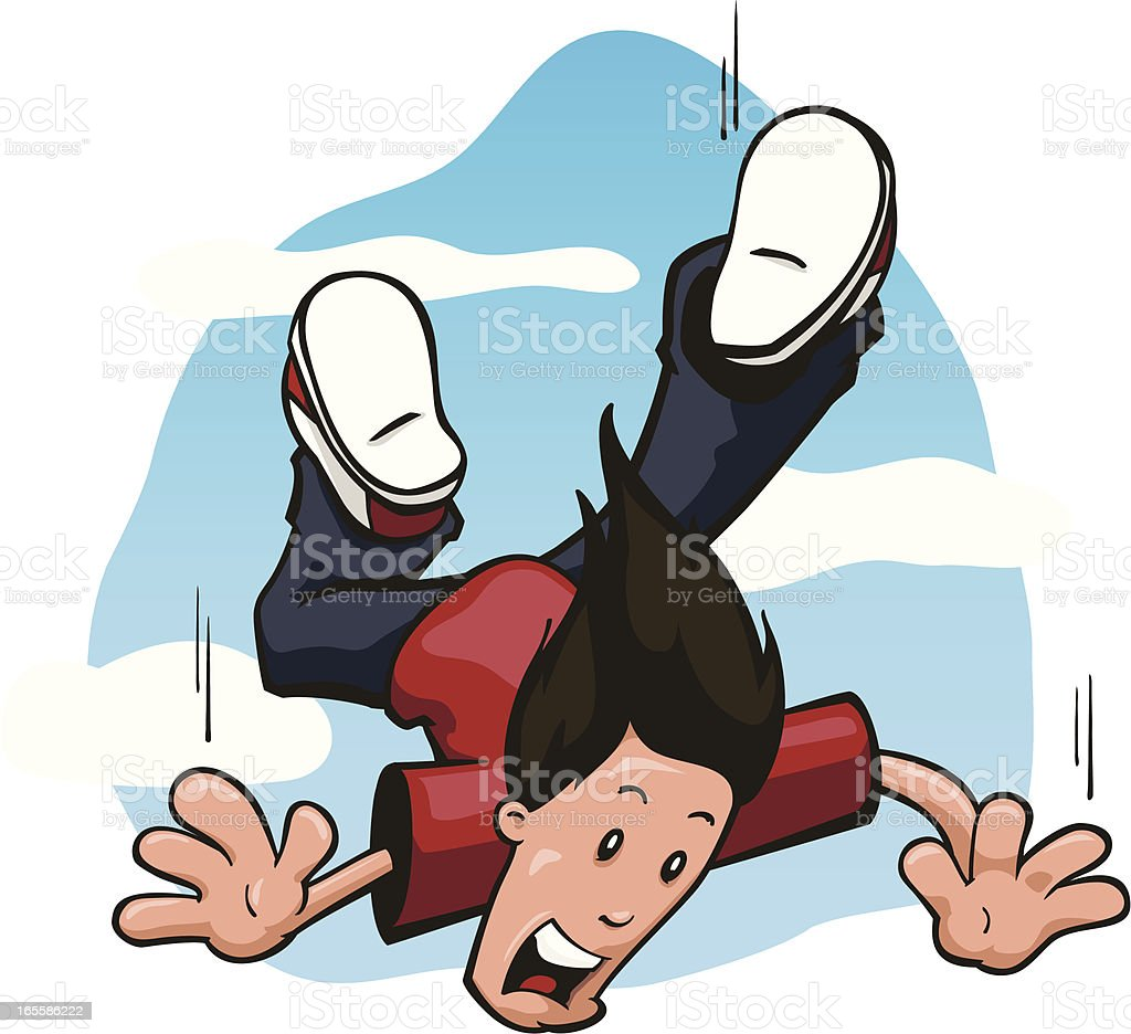 Terrified Guy rapidly falling through the sky toward earth vector art illustration