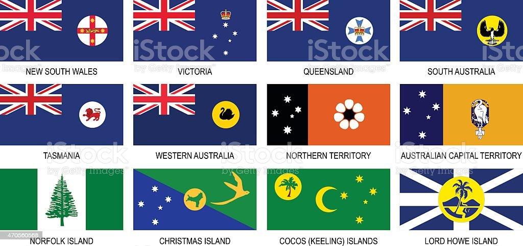 Territories Flags of Australia Icon Set vector art illustration