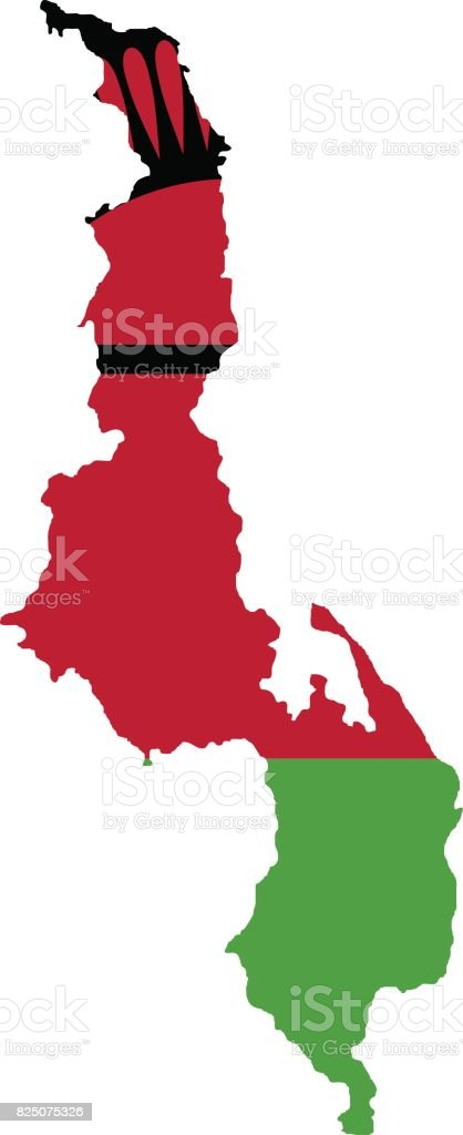 Territory and flag of Malawi vector art illustration