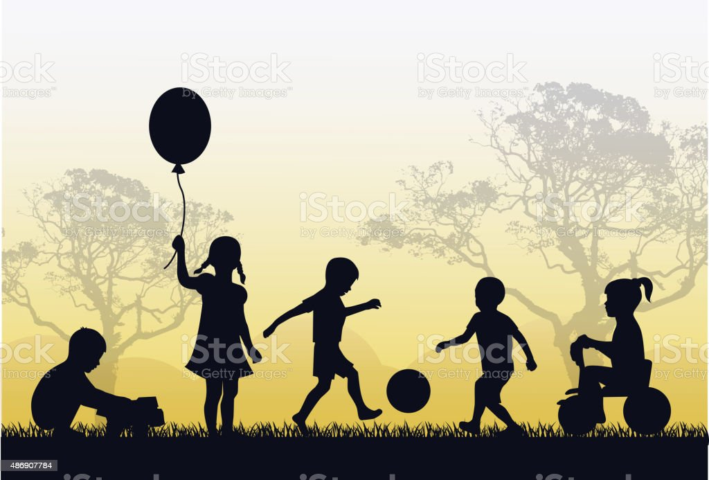 territory of a happy childhood vector art illustration