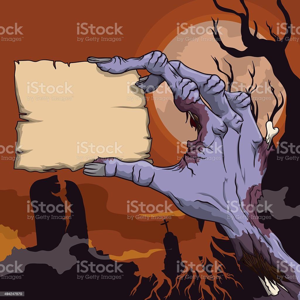 Terror Scene with Zombie Hand with Stamp on Graveyard. vector art illustration