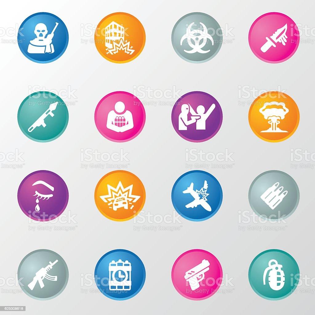 Terrorism Circle Color Icons vector art illustration