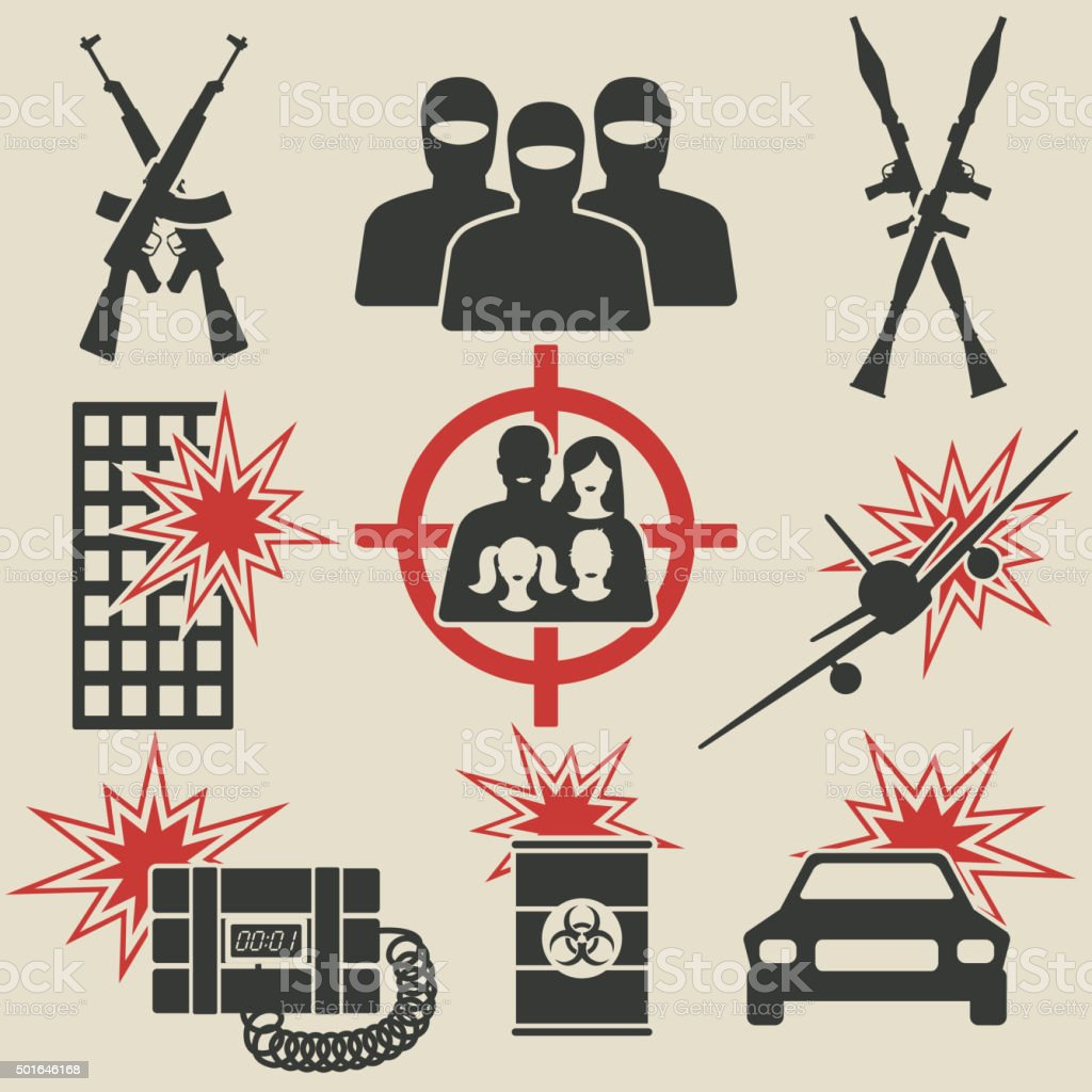 Terrorism icons set vector art illustration