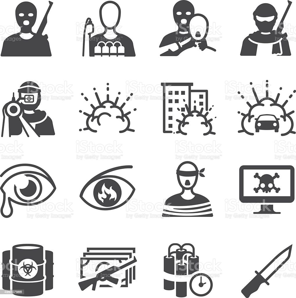 Terrorism icons vector art illustration