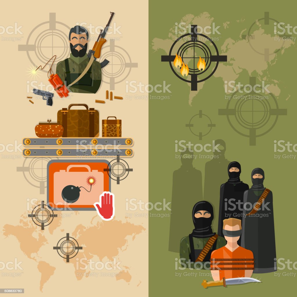 Terrorism taking of hostages global terror threat vector banners vector art illustration
