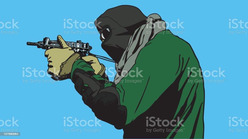 Terrorist aiming with SMG vector art illustration