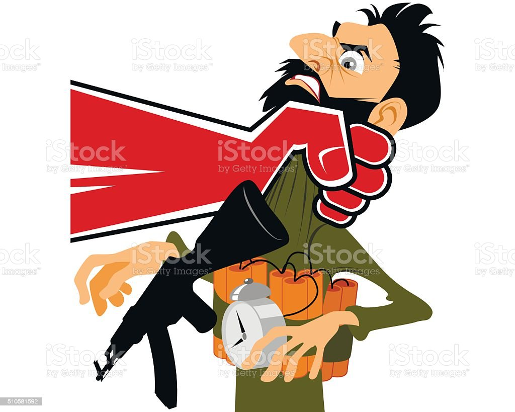 Terrorist in hand vector art illustration