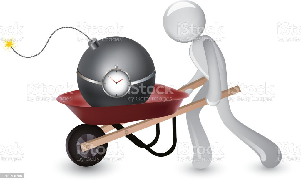 Terrorist in moving an exploding bomb royalty-free stock vector art