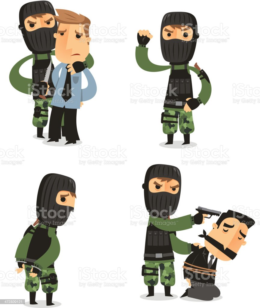 Terrorist Set with Mask Gun and Camouflage clothes royalty-free stock vector art