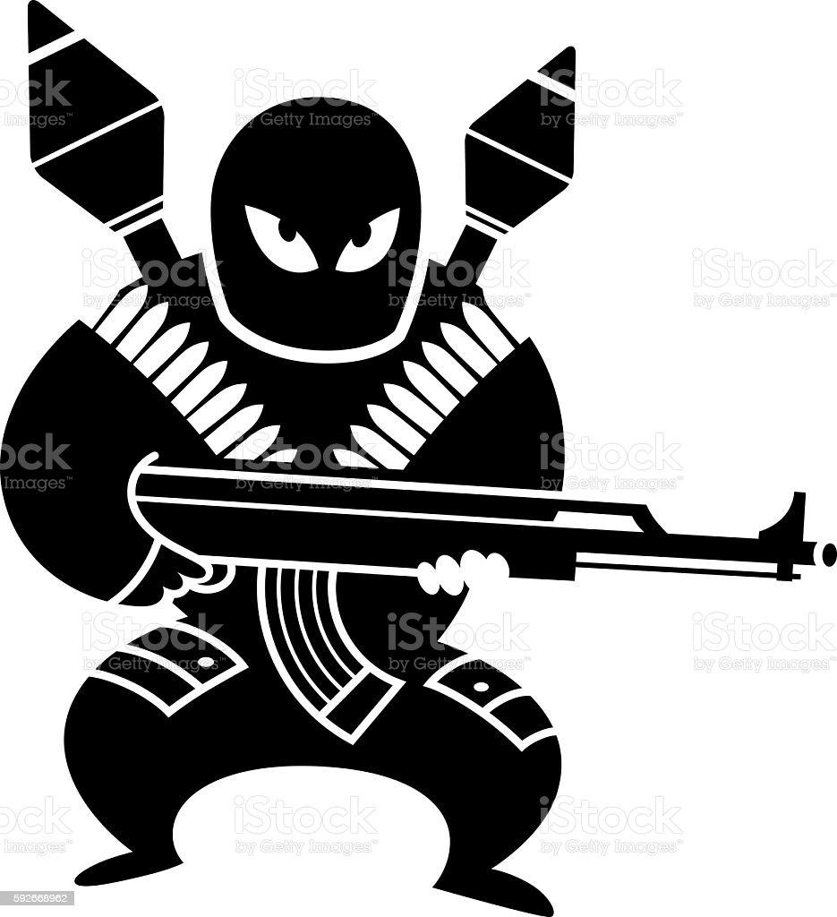 Terrorist vector art illustration