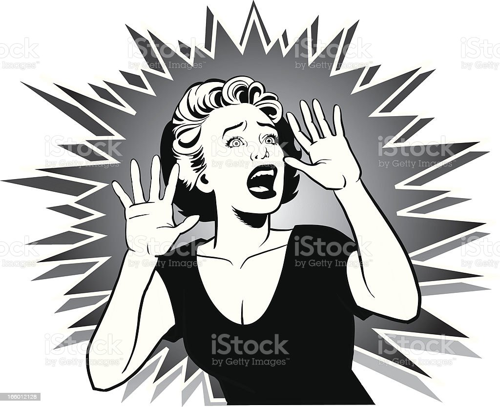 Terrorized Woman Screaming for Help vector art illustration