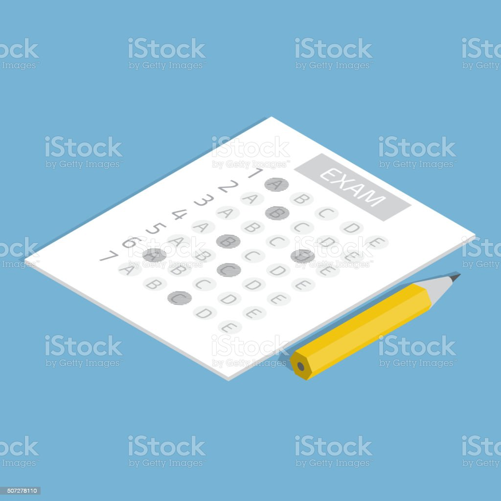 Test answer sheet icon vector art illustration