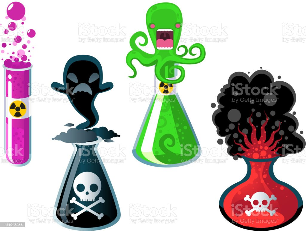 Test Tube Experiments in Danger royalty-free stock vector art
