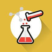 test tube science icon vector