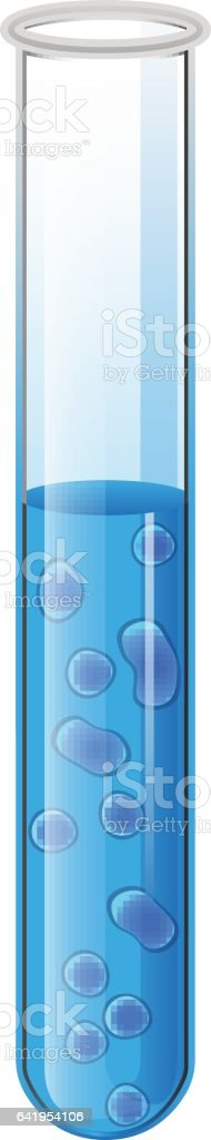 Test tube with liquid and blue bacteria cell. Vector vector art illustration