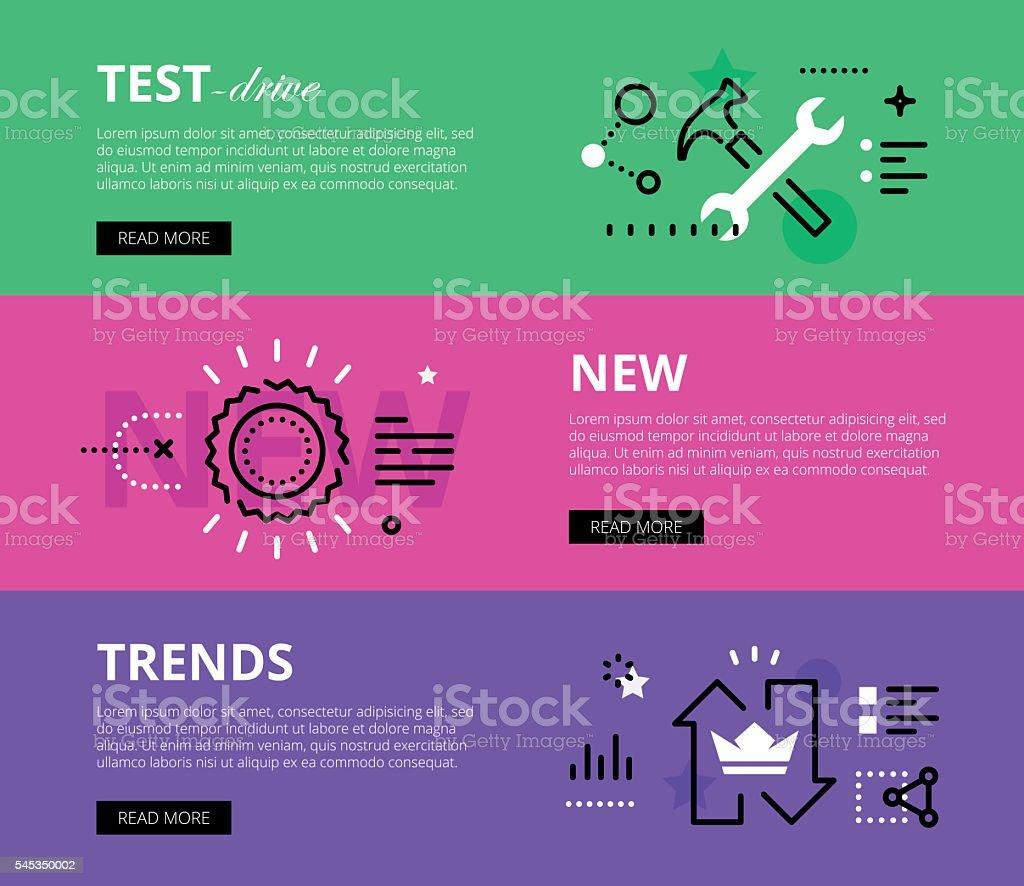 Test-Drive New Trends. Web banners vector set vector art illustration