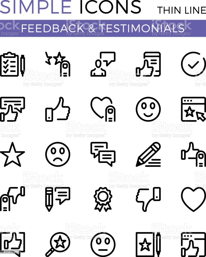 Testimonials, feedback, social network vector thin line icons set. 32x32 px. Flat line graphic design concept for websites, web design, etc. Pixel perfect vector outline icons set vector art illustration