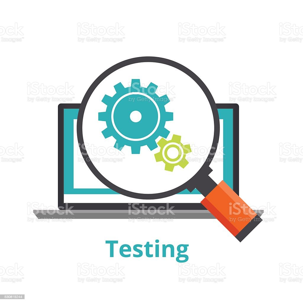 Testing laptop applications. flat illustration isolated on white background. vector art illustration