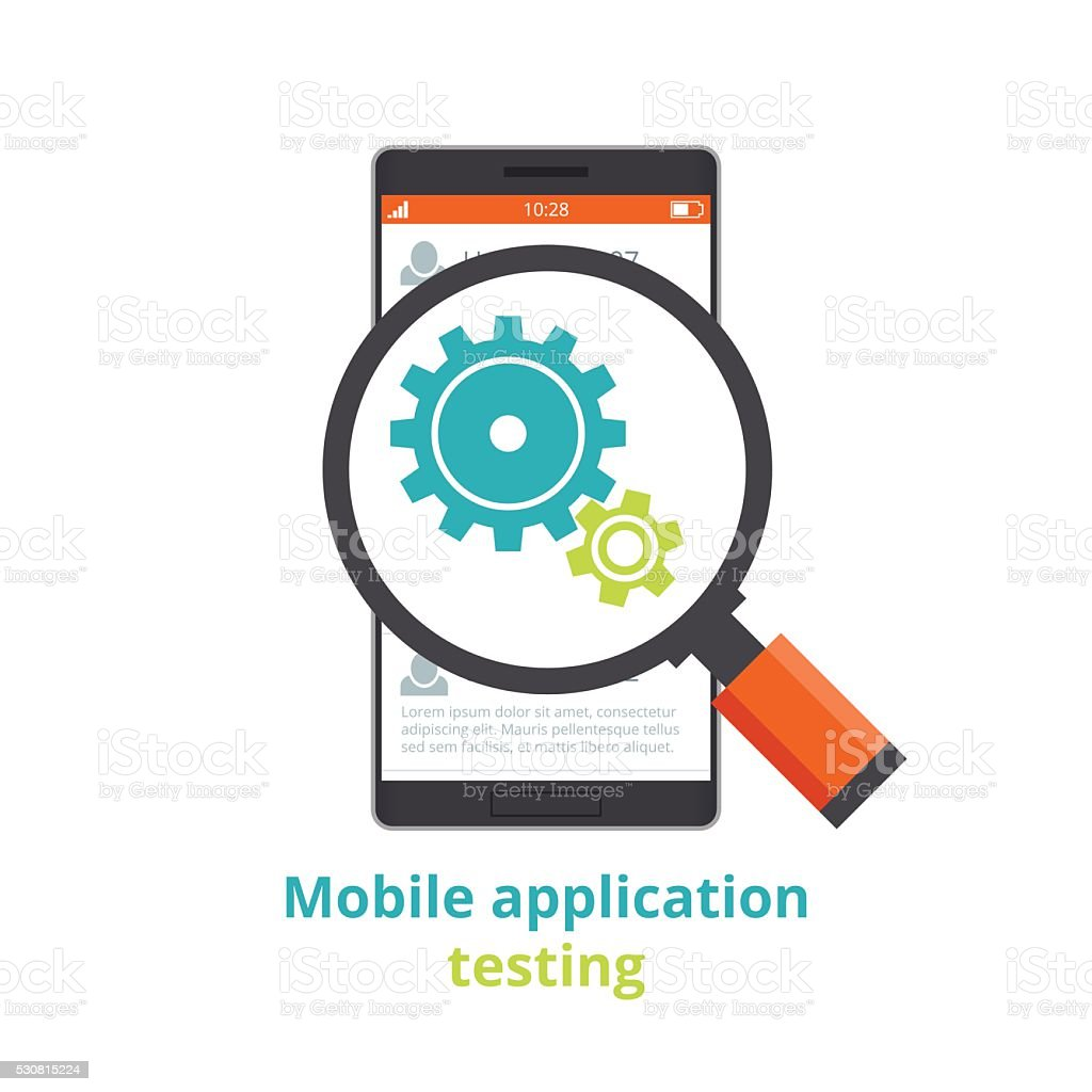 Testing of mobile applications. flat illustration isolated on white background. vector art illustration