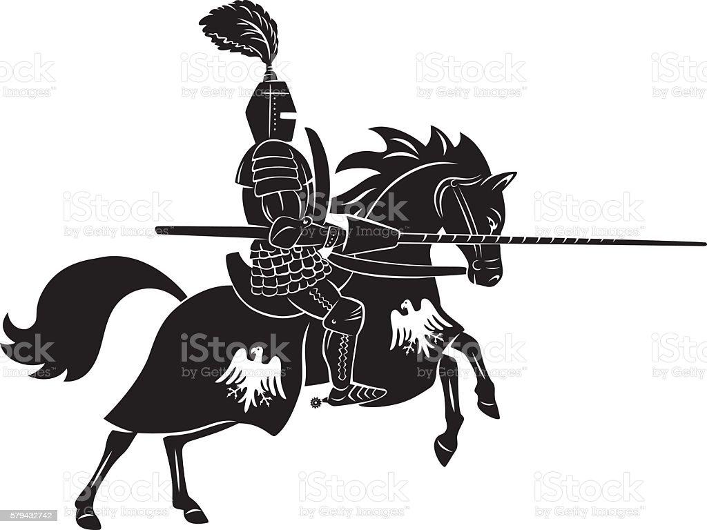 Teutonic knight vector art illustration