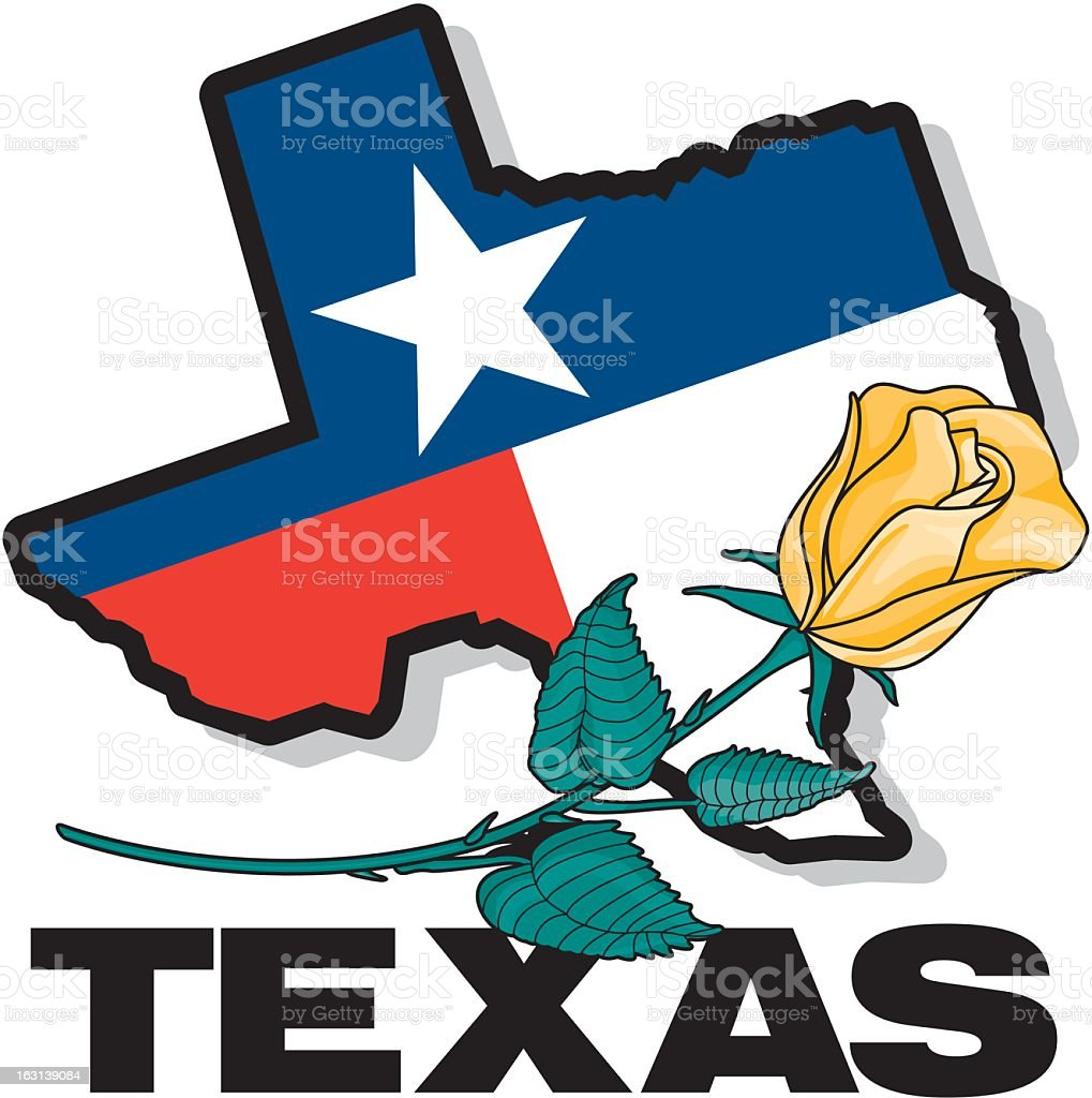 Texas and Rose royalty-free stock vector art