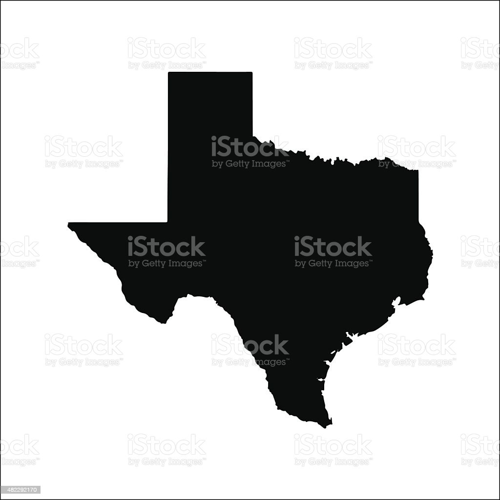 Texas black vector map flat design vector art illustration