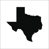 Texas black vector map flat design