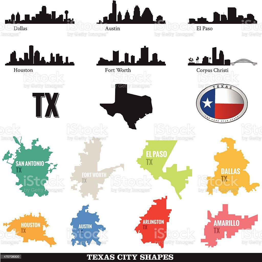 Texas Cityscapes and City shapes vector art illustration