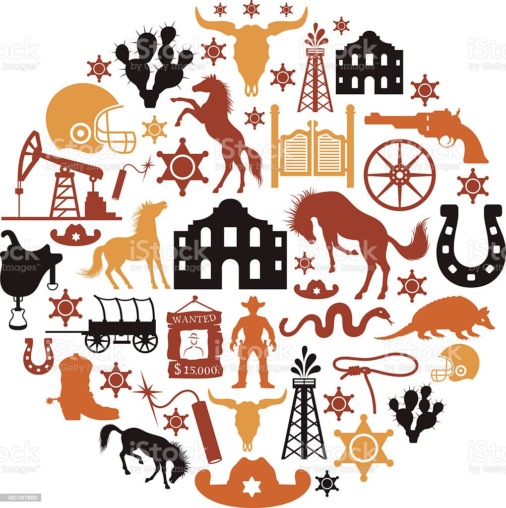 Texas Collage vector art illustration