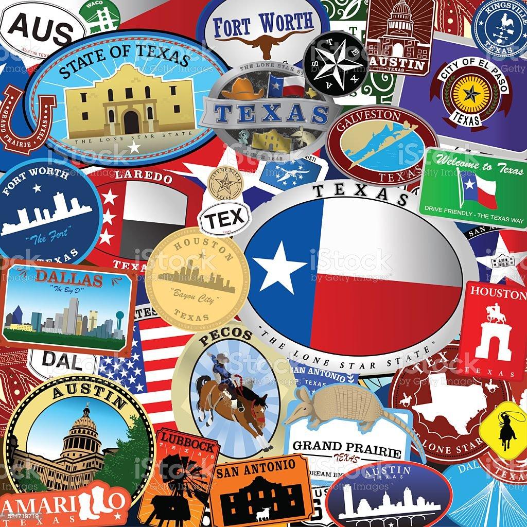 Texas Decal Collection vector art illustration