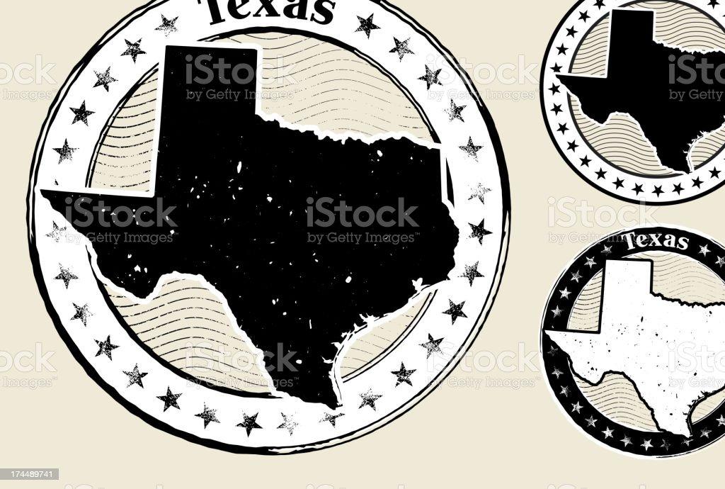 Texas Grunge Map Black & White Stamp Collection vector art illustration