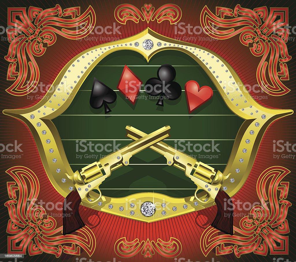 Texas Hold'em Old Remington Handgun Vector vector art illustration